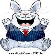 Vector of Cartoon Fat Blue Business Rabbit Sitting and Cheering by Cory Thoman
