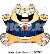 Vector of Cartoon Fat Business Hamster Sitting and Cheering by Cory Thoman