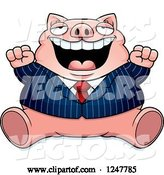 Vector of Cartoon Fat Business Pig Sitting and Cheering by Cory Thoman