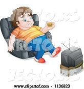 Vector of Cartoon Fat Guy Holding a Tiny Hamburger in Front of a Tv by Graphics RF