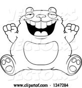 Vector of Cartoon Fat Hamster Sitting and Cheering by Cory Thoman