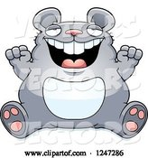 Vector of Cartoon Fat Mouse Sitting and Cheering by Cory Thoman