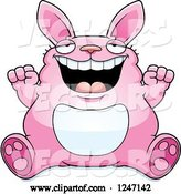 Vector of Cartoon Fat Pink Rabbit Sitting and Cheering by Cory Thoman