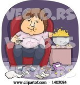Vector of Cartoon Fat White Guy Eating Popcorn in a Messy Living Room and Watching Tv by BNP Design Studio