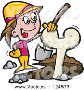 Vector of Cartoon Female Archaeologist Resting Her Hand on an Excavated Bone by Jtoons
