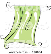 Vector of Cartoon Flapping Green Curtain by BNP Design Studio