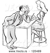 Vector of Cartoon Flirty Business Man Staring at a Beautiful Colleague - Black and White Version by Picsburg