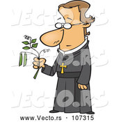 Vector of Cartoon Friar Guy, Gregor Mendel, Holding a Pea Plant by Toonaday