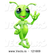 Vector of Cartoon Friendly Green Alien Waving Hello by AtStockIllustration
