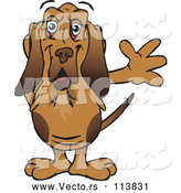 Vector of Cartoon Friendly Waving Bloodhound Dog by Dennis Holmes Designs