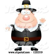 Vector of Cartoon Friendly Waving Male Thanksgiving Pilgrim by Cory Thoman