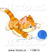 Vector of Cartoon Frisky Ginger Kitten Playing with Yarn by Pushkin