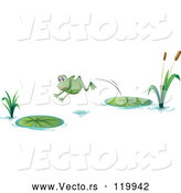 Vector of Cartoon Frog Leaping from One Lily Pad to Another by Graphics RF