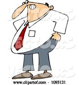 Vector of Cartoon Frustrated Business Man Trying to Pull His Pants up over His Belly by Djart