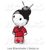 Vector of Cartoon Geisha Girl Looking up and to the Left by Leo Blanchette