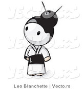 Vector of Cartoon Geisha Girl Wearing White Kimono by Leo Blanchette