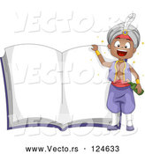 Vector of Cartoon Genie Boy over an Open Story Book by BNP Design Studio