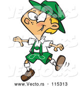 Vector of Cartoon German Boy Dancing in Lederhosen by Toonaday