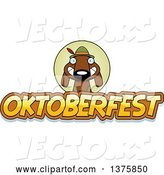 Vector of Cartoon German Oktoberfest Dachshund Dog Wearing Lederhosen by Cory Thoman