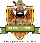 Vector of Cartoon German Oktoberfest Dachshund Dog Wearing Lederhosen Shield by Cory Thoman