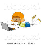 Vector of Cartoon Ginger Haired Black Stick Girl Using a Laptop on the Floor by Graphics RF