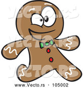 Vector of Cartoon Gingerbread Guy Running by Toonaday