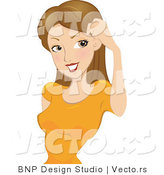 Vector of Cartoon Girl Brushing Her Hair Away from Her Eyes by BNP Design Studio