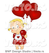 Vector of Cartoon Girl Hiding Heart Balloons Behind Her Back by BNP Design Studio