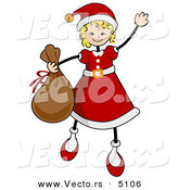 Vector of Cartoon Girl in a Santa Suit While Carrying a Sack of Gifts and Waving by BNP Design Studio