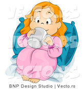 Vector of Cartoon Girl Sipping Beverage in Bed by BNP Design Studio