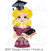 Vector of Cartoon Graduation Pinup Girl Carrying Books by BNP Design Studio