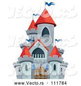 Vector of Cartoon Gray Stone Castle with Red Turrets by Visekart