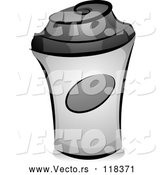 Vector of Cartoon Grayscale to Go Coffee Cup by BNP Design Studio