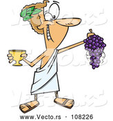 Vector of Cartoon Greek God, Dionysus, Holding a Bunch of Grapes and a Goblet by Toonaday