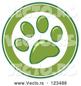 Vector of Cartoon Green and White Dog Paw Print Circle by Hit Toon