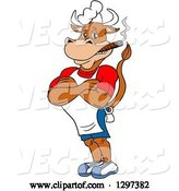 Vector of Cartoon Grinning Muscular Bbq Chef Cow with Folded Arms, Smoking a Cigar by LaffToon