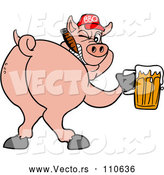 Vector of Cartoon Grinning Pig Looking Back, Smoking a Cigar, Wearing a Bbq Hat, Holding a Beer by LaffToon