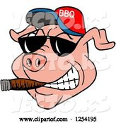 Vector of Cartoon Grinning Pig Smoking a Cigar, Wearing Sunglasses and a Bbq Hat by LaffToon