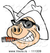 March 28th, 2018: Vector of Cartoon Grinning Pig Wearing Sunglasses and a White Cowboy Hat, Smoking a Cigar by LaffToon