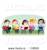 Vector of Cartoon Group of Happy Diverse School KChildren Using Tablet Computers on a Bench by BNP Design Studio