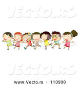 Vector of Cartoon Group of Happy KChildren Dancing and Running Together by Graphics RF
