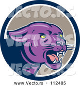 Vector of Cartoon Growling Purple Black Panther Cat in a Blue White and Taupe Circle by Patrimonio