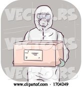 Vector of Cartoon Guy Body Protective Suit Carry Box Illustration by BNP Design Studio
