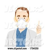 Vector of Cartoon Guy Doctor N95 Face Mask Saying Illustration by BNP Design Studio