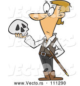 March 28th, 2018: Vector of Cartoon Guy, Hamlet, Holding a Skull by Toonaday
