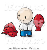 Vector of Cartoon Guy Holding up a Red Fish by Leo Blanchette