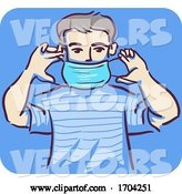 Vector of Cartoon Guy How Put Mask Illustration by BNP Design Studio