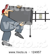 Vector of Cartoon Guy Installing a Flat Screen Tv on a Wall Mount by Djart