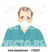 Vector of Cartoon Guy Wear N95 Face Mask Sad Illustration by BNP Design Studio