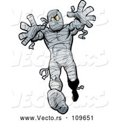 Vector of Cartoon Halloween Mummy Reaching and Walking Forward by Clip Art Mascots